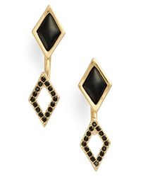 Rebecca Minkoff - Black 'diamond Deco' Drop Earrings - Lyst