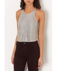 TOPSHOP | Metallic Petite All Over Sequin Shell Top | Lyst