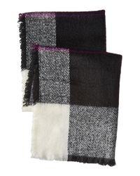 Lauren by Ralph Lauren - Black Mohair Blanket Plaid Scarf - Lyst