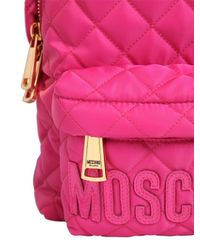 Moschino - Pink Small Quilted Nylon Backpack With Logo - Lyst
