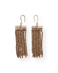 Lanvin | Metallic Golden Fringe Drop Earrings | Lyst