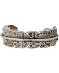 Saint Laurent | Metallic Silver Feather Cuff | Lyst