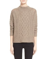FRAME | Brown Cable Knit Sweater | Lyst