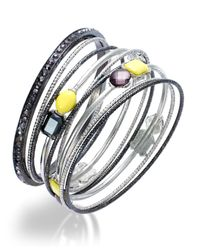 INC International Concepts | Metallic Two-tone Yellow And Hematite Crystal Bangle Bracelet Set | Lyst