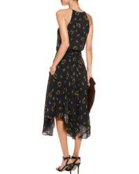 A.L.C. - Black Topper Printed Silk-crepe Midi Dress - Lyst