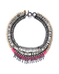 Venna | Pink Crystal Fringe Spike Necklace | Lyst