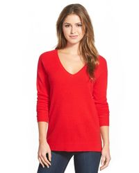 Halogen - Red V-neck Lightweight Cashmere Sweater - Lyst