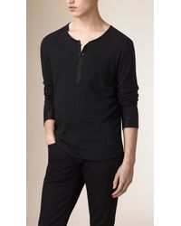 Burberry - Black Long-Sleeved Cotton Henley for Men - Lyst