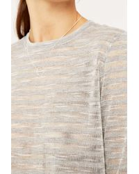 Sparkle & Fade | Gray Sheer Striped Top | Lyst