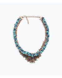 Zara | Multicolor Shiny Stone Necklace | Lyst
