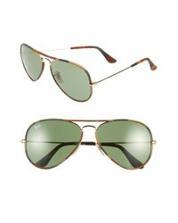 Ray-Ban | Brown 58mm Aviator Sunglasses | Lyst