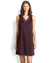 Hanro - Purple Moments Tank Short Gown - Lyst