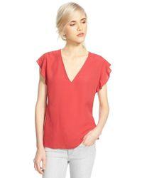 Chelsea28 Nordstrom - Red Flutter Sleeve V-neck Top - Lyst