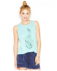 Lucky Brand | Blue Lucky Lotus By Lucky Brand Sleeveless Graphic Top | Lyst