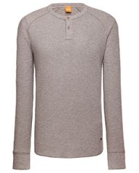 BOSS Orange - Gray 'trucker' | Cotton Slub Henley Shirt for Men - Lyst