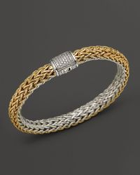 John Hardy - Metallic Classic Chain 18k Gold And Sterling Silver Medium Reversible Bracelet With Pavé Diamonds - Lyst