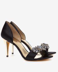 Ted Baker | Black Embellished D'orsay Sandals | Lyst