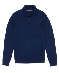 Ted Baker | Blue Shawl Neck Knit Jumper for Men | Lyst
