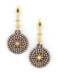 Armenta - Metallic Small Pave Diamond Shield Drop Earrings - Lyst