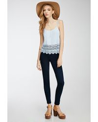 Forever 21 | Blue Crochet-trimmed Cami | Lyst