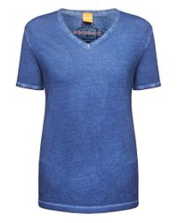 BOSS Orange | Blue T-shirt 'timblin 4' With A Round Neckline for Men | Lyst