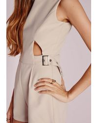 Missguided - Natural Cut Out Buckle Detail Playsuit Stone - Lyst