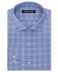 Michael Kors - Blue Hyacinth Check Dress Shirt for Men - Lyst