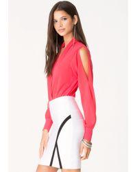 Bebe | Pink Silk Wrap Bodysuit | Lyst