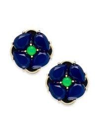 kate spade new york | Blue New York Goldtone Flower Stud Earrings | Lyst