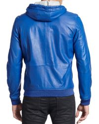 DIESEL - Blue Hooded Leather Bomber Jacket for Men - Lyst
