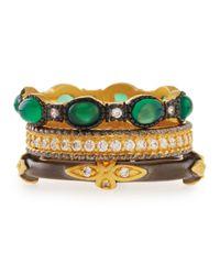 Freida Rothman - Green Cz Byzantine Set Of Three Stackable Rings - Lyst