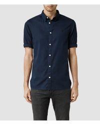 AllSaints | Blue Redondo Half Sleeved Shirt for Men | Lyst