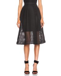 Nicholas - Black Organza Lace Mid Length Skirt - Lyst