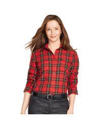 Ralph Lauren - Red Plaid Cotton Twill Workshirt - Lyst