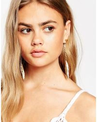 ASOS - Metallic Chunky Nugget Feather Drop Front And Back Earrings - Lyst