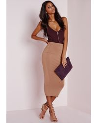 Missguided - Purple Ribbed Ring Pull Detail Bodysuit Aubergine - Lyst