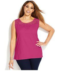 INC International Concepts - Pink Plus Size Crochet Tank Top - Lyst