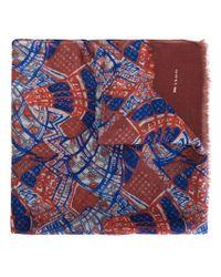 Kiton - Blue Printed Frayed Edge Scarf - Lyst