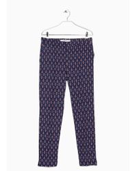 Mango | Blue Printed Baggy Trousers | Lyst
