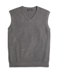 Brooks Brothers | Gray Cotton Cashmere Vest for Men | Lyst