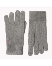 Tommy Hilfiger - Gray Wool Cotton Blend Gloves for Men - Lyst