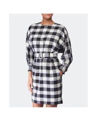 MSGM - Black Check Belt Dress - Lyst