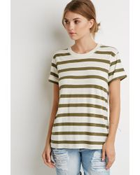 Forever 21 - Green Contemporary Cuffed-sleeve Stripe Tee - Lyst