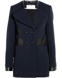 Chloé | Blue Leather-trimmed Wool Coat | Lyst