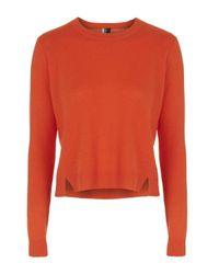 TOPSHOP | Orange Premium Cashmere Boxy Jumper | Lyst