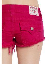 True Religion - Pink Cut-off Jean Shorts - Lyst