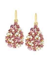Betsey Johnson | Pink Antique Goldtone Pave Crystal Teardrop Earrings | Lyst