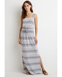 Forever 21 | Gray Striped High-slit Maxi Dress | Lyst