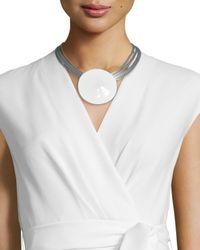 Lafayette 148 New York - White Multi-strand Pendant Collar Necklace - Lyst