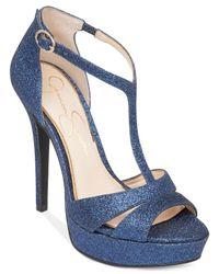 Jessica Simpson - Blue Beryl T-strap Platform Dress Sandals - Lyst